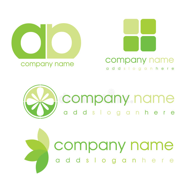 Green logos. Logos in green for various types of business royalty free illustration
