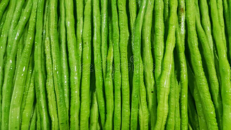 Green Long pod sold in the market, Vegetable stock images