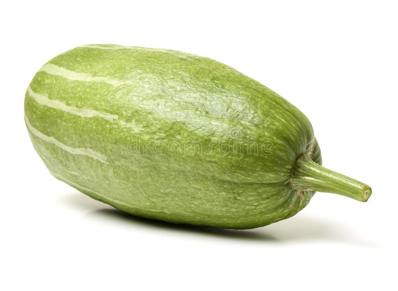 Green long pumpkin. Isolated on wood background royalty free stock image