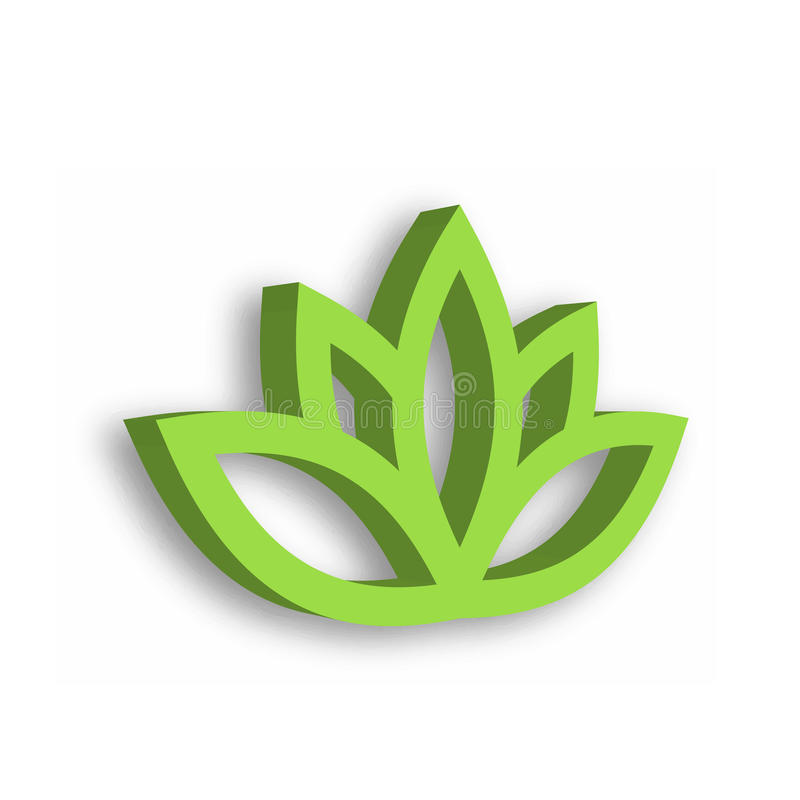 Green lotus flower 3d icon on white background. Wellness, spa, yoga, beauty and healthy lifestyle theme. Vector. Illustration stock illustration