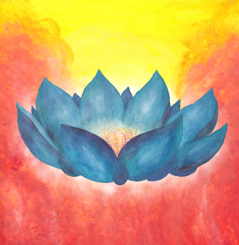 Green Lotus Flower and Flames 2017. An abstract watercolor painting of a large lotus flower with blue green blossoms in front of a yellow background with red stock illustration