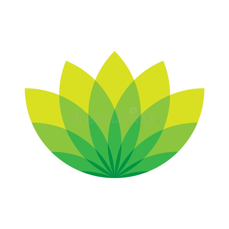 Green lotus icon - wellness beauty and spa theme. Simple. Flat green vector illustration on white background stock illustration