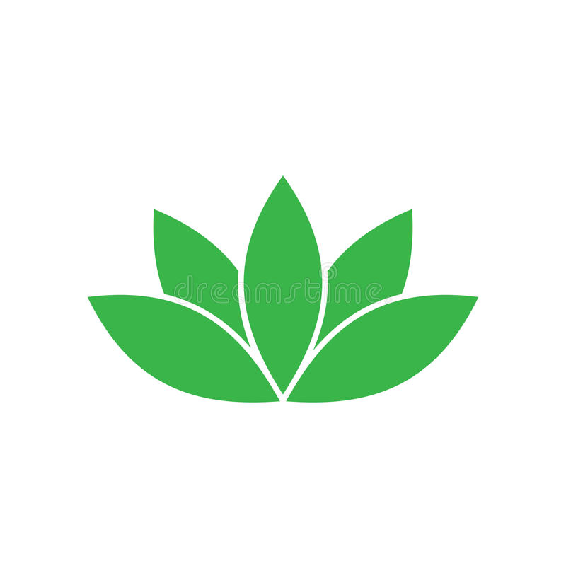 Green lotus symbol. Spa and wellness theme design element. Vector illustration.  vector illustration