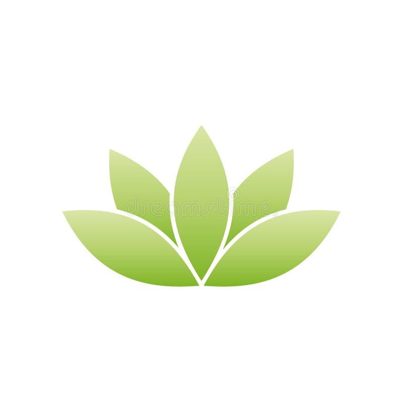 Green lotus symbol. Spa and wellness theme design element. Vector illustration.  stock illustration