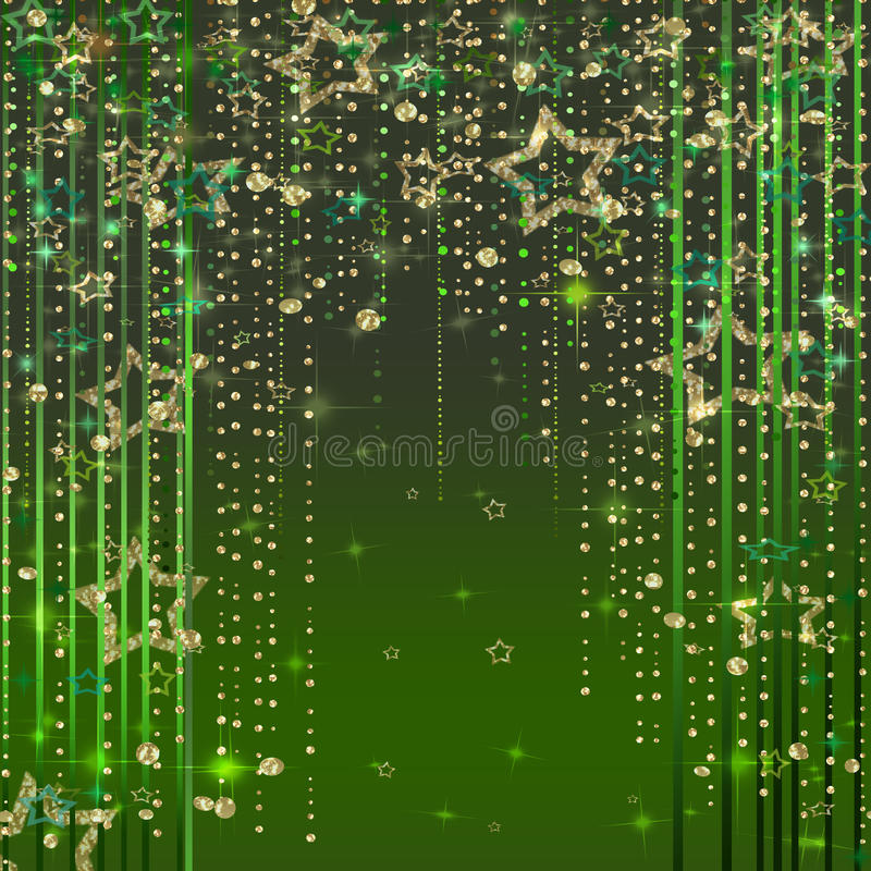 Green magic light abstract background. With stars stock illustration