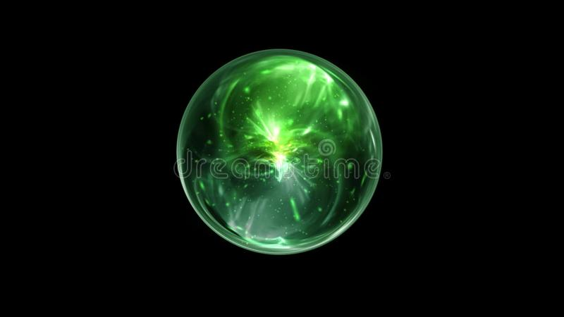 Green Magical Orb Spin On A Black Screen Background Stock Video