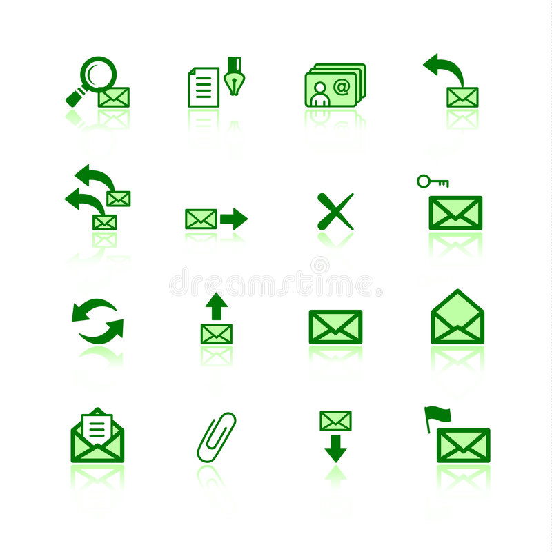 Green mail icons royalty free illustration