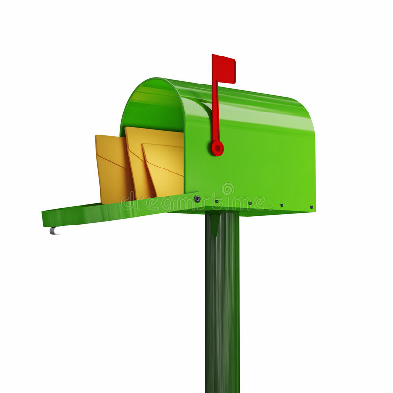 Green mailbox. Fine 3d image of classic green mailbox with envelope stock illustration