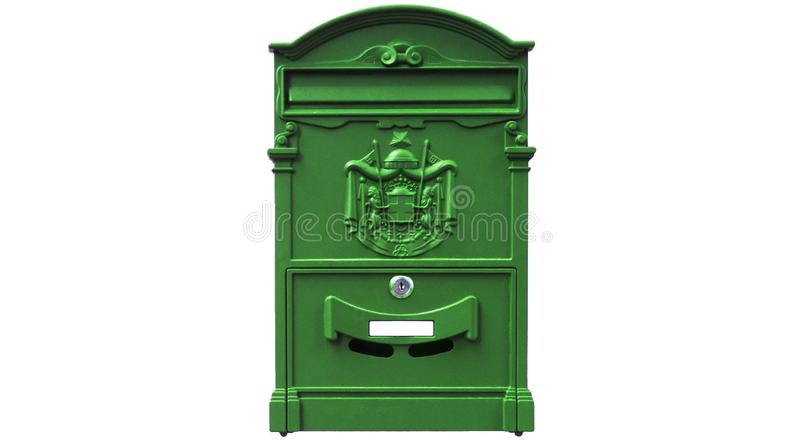 Mailbox isolated on white background. Green mailbox isolated on white background stock photo