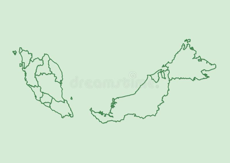 Green Malaysia map with border lines of different states on light background vector illustration. Green Malaysia map with border lines of different states on stock illustration