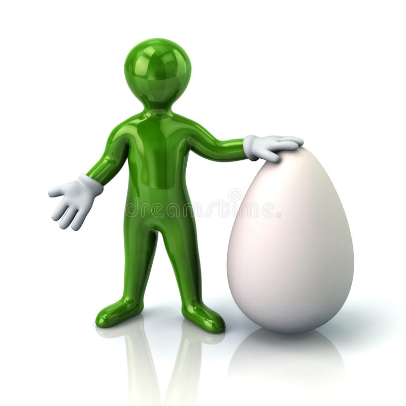 Green man and big white egg vector illustration