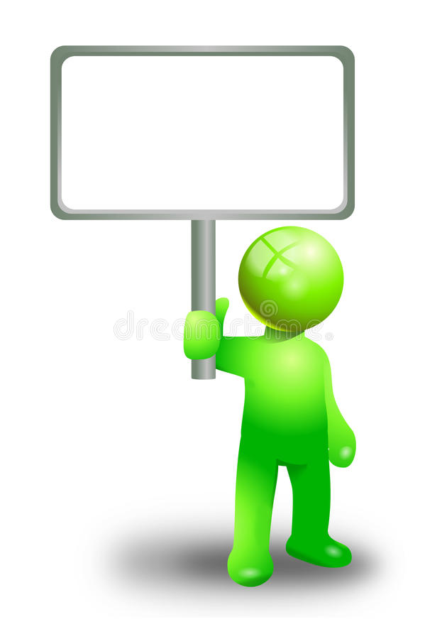 Green man sign board stock photo