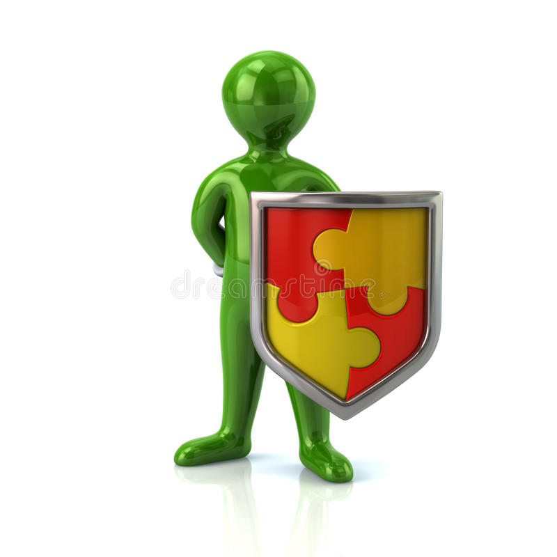 Free Green Man With Puzzle Shield Royalty Free Stock Image - 68675836