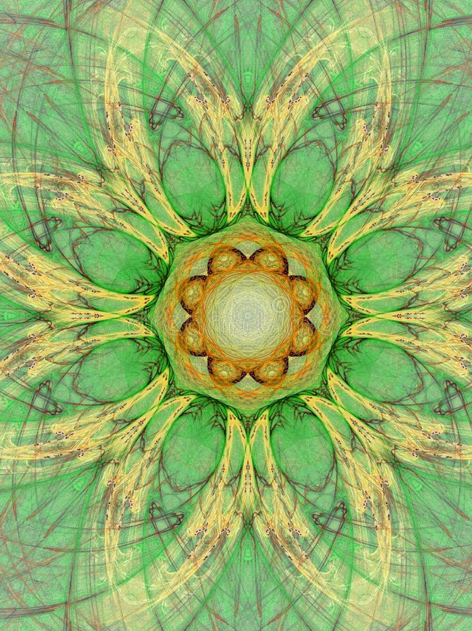 Green mandala. Abstract fractal background created with apophysis royalty free illustration