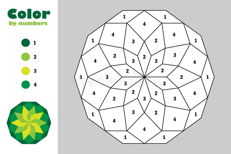 Green mandala in cartoon style, color by number, education paper game for the development of children, coloring page, kids royalty free illustration