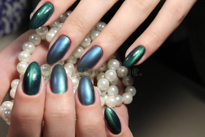 Green Manicure Nail Design With Pearls Stock Photo Image Of Pearl