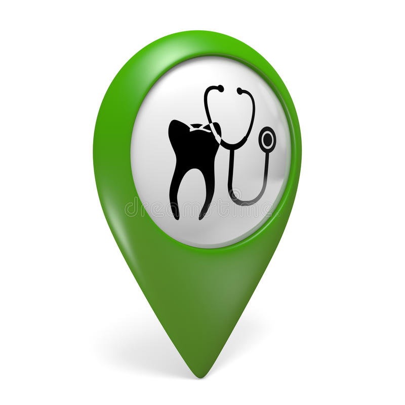 Green map pointer icon with a tooth symbol for dental clinics. Rendered in 3D on a white background vector illustration