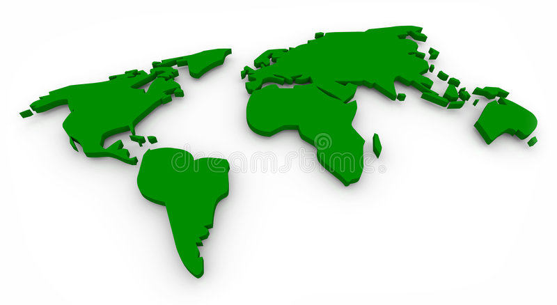 Green Map of the World. A green map of the world, with continents spread flat royalty free illustration