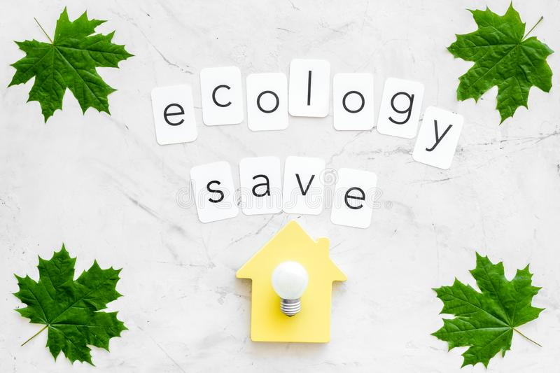 Green maple leaves, house figure, bulb and ecology save text for eco concept on marble background top view. Eco friendly. Green maple leaves, house figure, bulb stock images