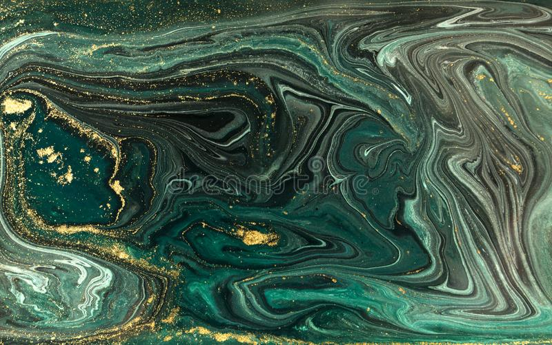 Green marble abstract acrylic background. Marbling artwork texture. Agate ripple pattern. Gold powder. Green marble abstract acrylic background. Marbling stock photo