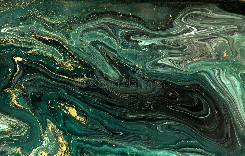 Green marble abstract acrylic background. Marbling artwork texture. Agate ripple pattern. Gold powder. royalty free stock photos