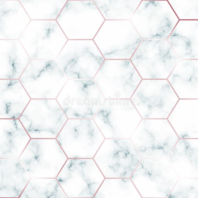 Green Marble design template with hexagonal rose gold grid for invitation, banners, greeting card, etc. royalty free illustration