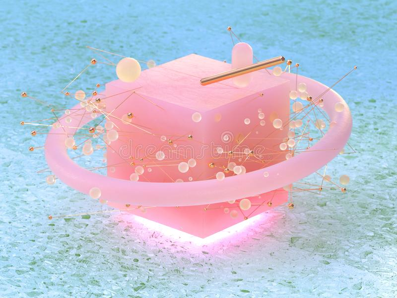 green marble floor abstract pink cube shape circle sphere floating 3d rendering vector illustration