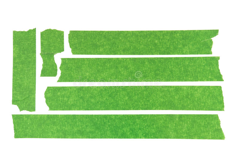 Green Masking Tape. Collection of used green masking tape pieces royalty free stock photos