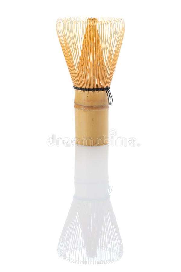 Green matcha tea bamboo whisk stock image