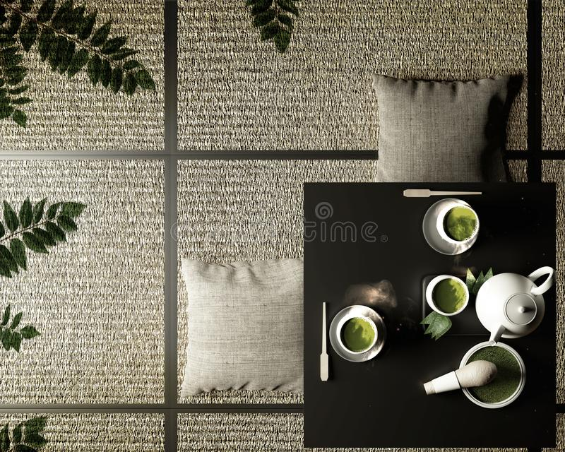 Green matcha tea, bamboo whisk, spoon and tea powder in low table on tatami mat. 3D rendering. Mock up Green matcha tea, bamboo whisk, spoon and tea powder in stock illustration