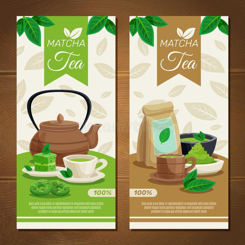 Green Matcha Tea Vertical Banners royalty free illustration