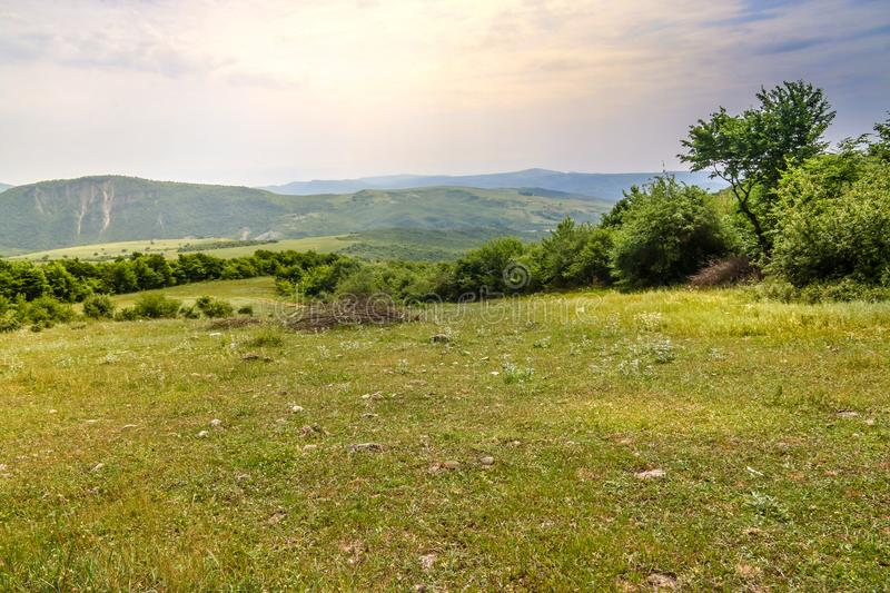 Green meadow on the background with distant mountains. Open field with green grass. Landscape photograpy royalty free stock image