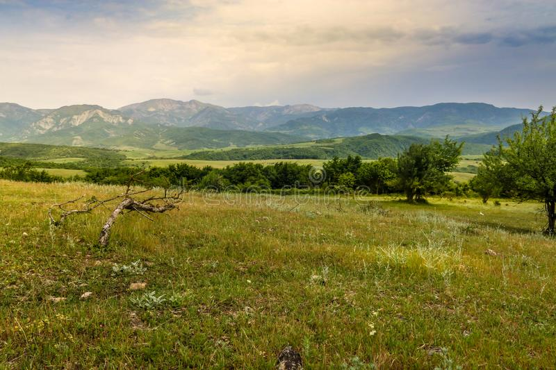 Green meadow on the background with distant mountains. Open field with green grass. Landscape photograpy stock photo