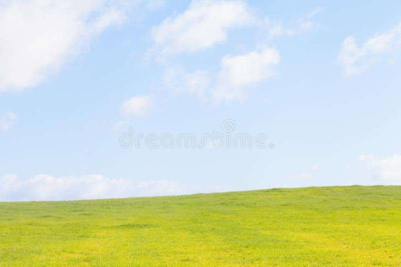 Green meadow and blue sky in Spain stock photo