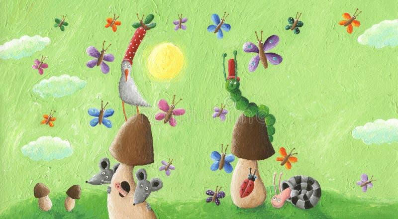 The green meadow with mushrooms, snail, mice, caterpillar, ladybird and full of butterflies. Acrylic illustration of the green meadow with mushrroms, snail, mice stock photos