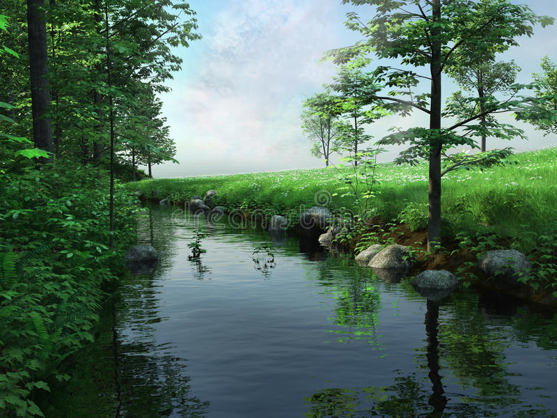 Download Green meadow and river stock illustration. Image of sunny - 31340721