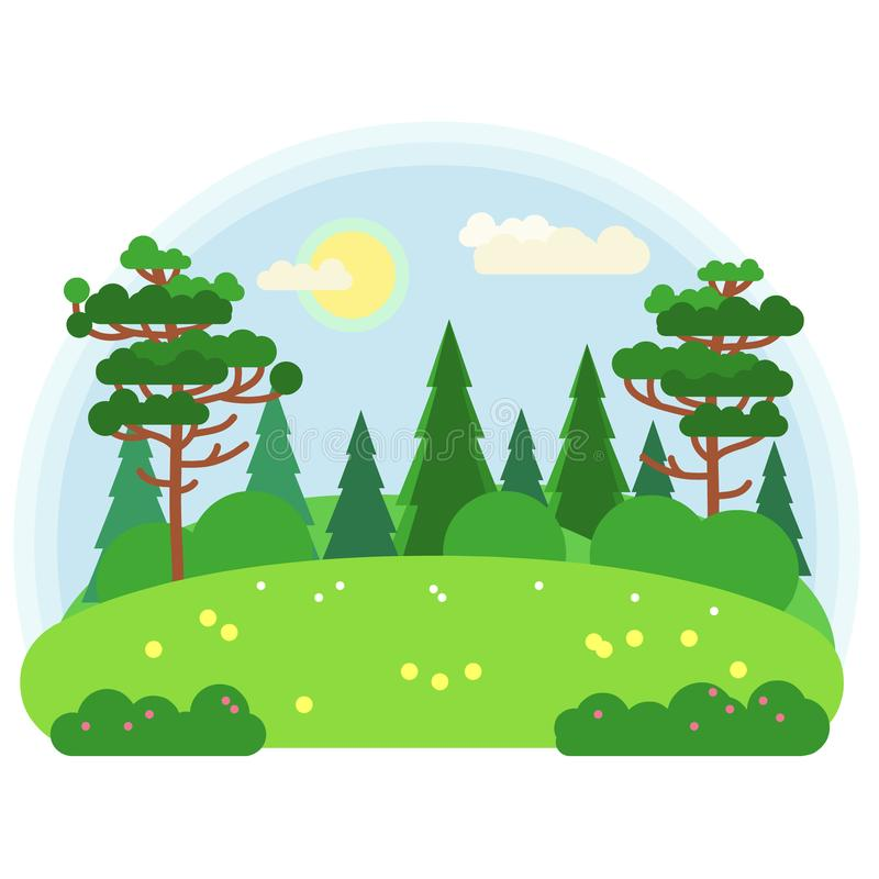 Green meadow. Vector illustration in flat style. vector illustration