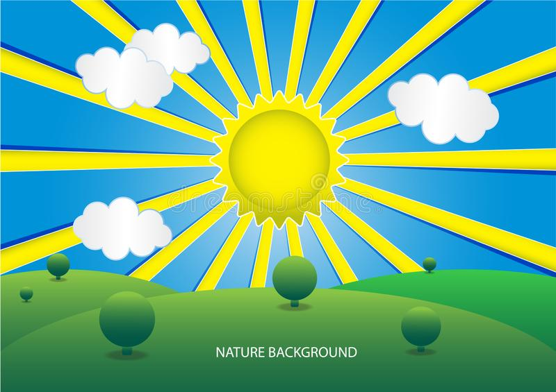 Green meadows On the day of sunrise. Vector background royalty free illustration