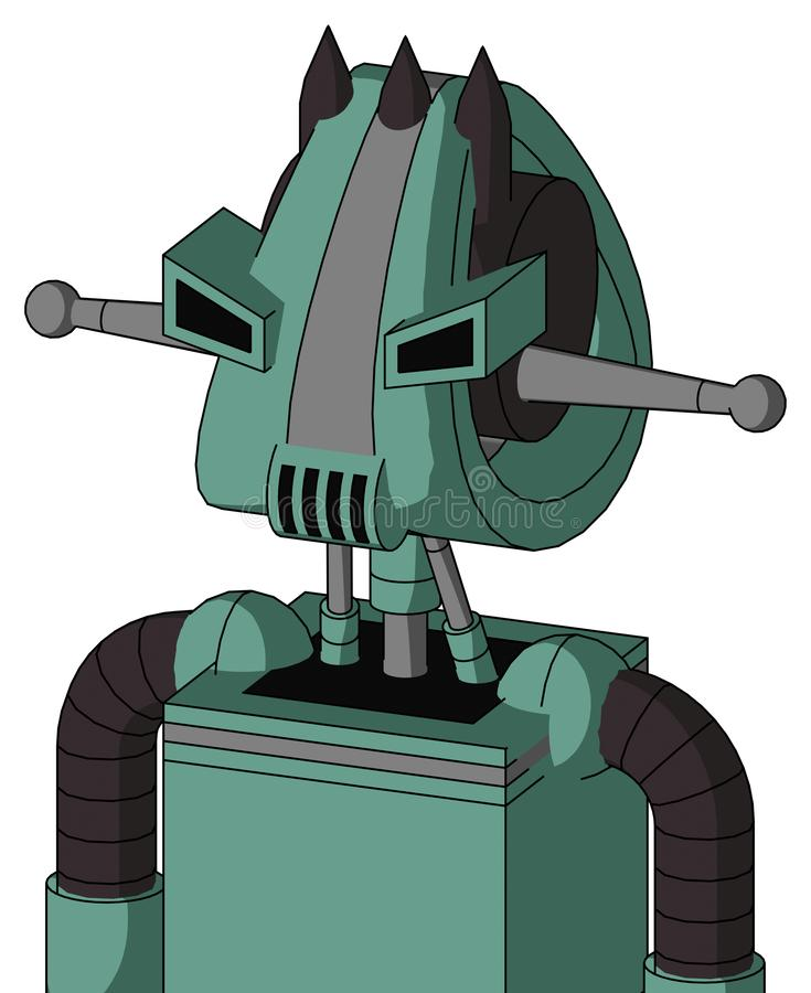 Green Mech With Droid Head And Speakers Mouth And Angry Eyes And Three Dark Spikes. Portrait style Green Mech With Droid Head And Speakers Mouth And Angry Eyes stock illustration