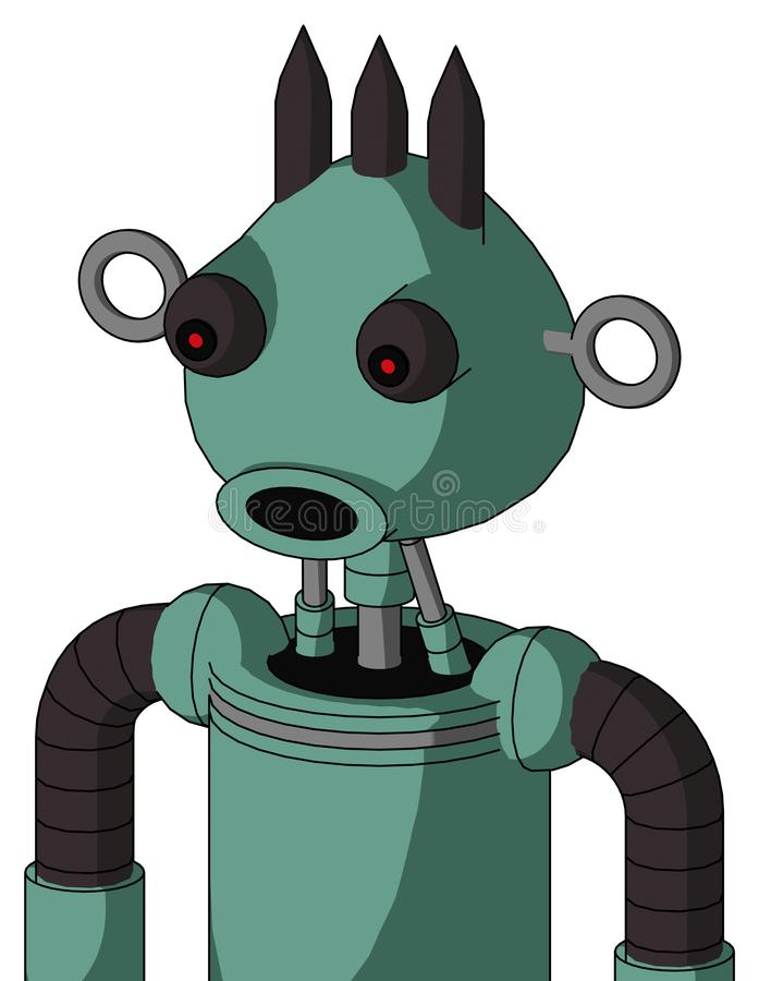 Green Mech With Rounded Head And Round Mouth And Red Eyed And Three Dark Spikes. Portrait style Green Mech With Rounded Head And Round Mouth And Red Eyed And vector illustration