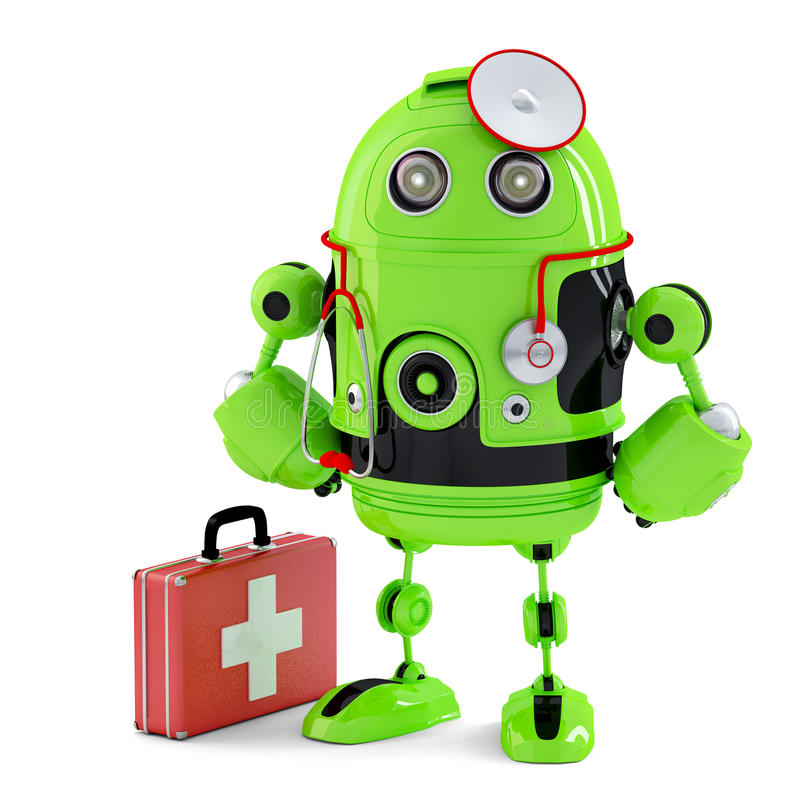 Green Medic Robot. Technology concept. Isolated. Contains clipping path. Green Medic Robot. Technology concept. Isolated over white. Contains clipping path royalty free illustration