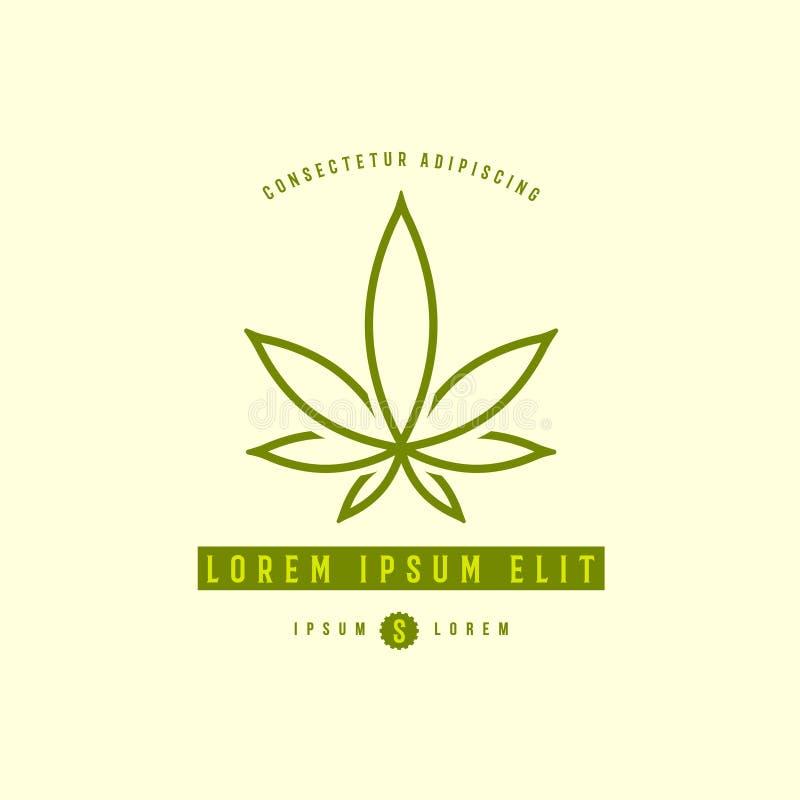 Green medical cannabis plant logo, emblem stock illustration