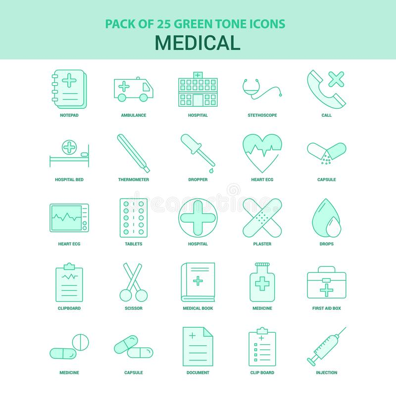 25 Green Medical Icon set royalty free illustration
