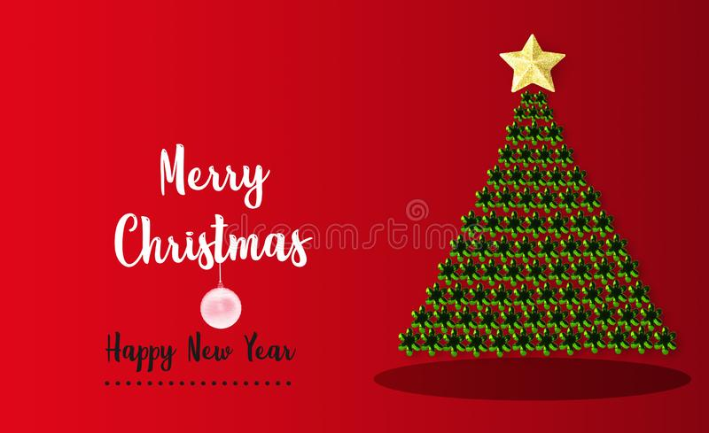 Green Merry Christmas and happy new year tree pine with golden star on red background for holiday decoration card design.  stock photos