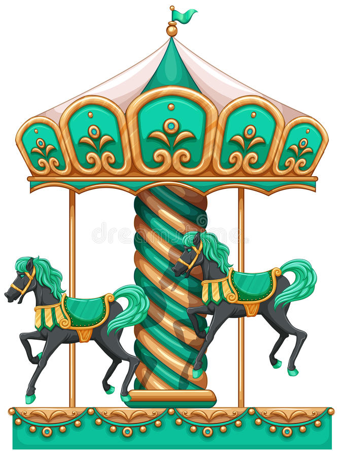 A green merry-go-round royalty free illustration