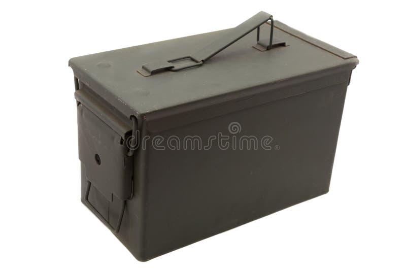 Green ammo box. Green metal ammo box on white background stock image