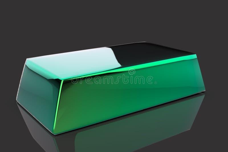 Green metal bullion 3D. Render isolated on black background vector illustration