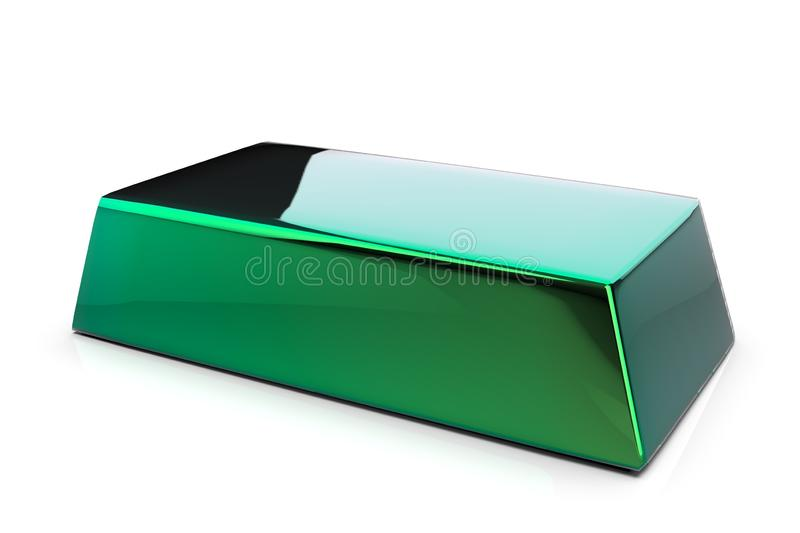 Green metal bullion 3D. Render isolated on white background stock illustration