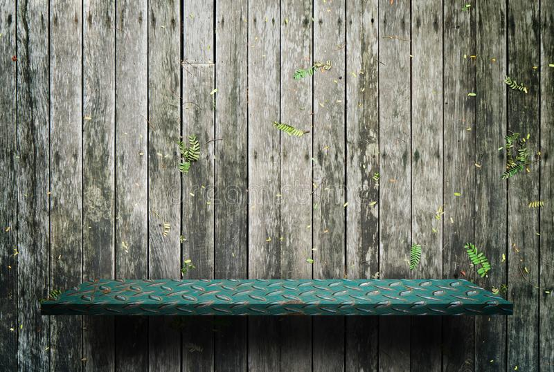 Green metal shelf display counter on wood stock images