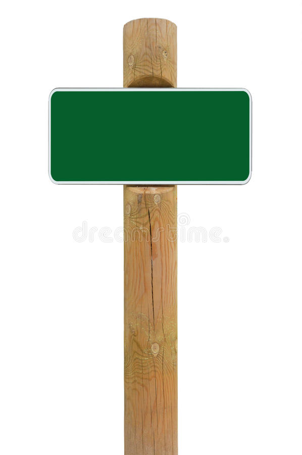 Green metal sign board signage copy space background, white frame roadsign, old aged weathered wooden pole post, isolated blank stock photography